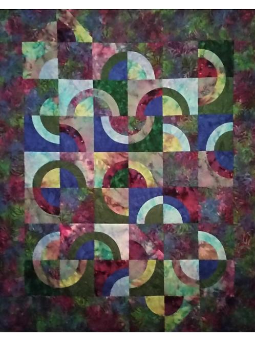 Circular Medley Quilt Pattern Topstitch Piecing Technique PDF Download