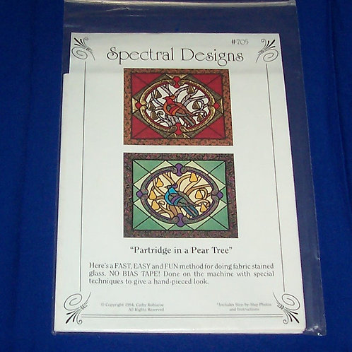 Spectral Designs Partridge in a Pear Tree Stained Glass Quilt Pattern Christmas