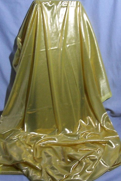 Metallic Foil Shiny Stretch Fabric Lingerie 2 Way Stretch Yellow 1.5 Yards