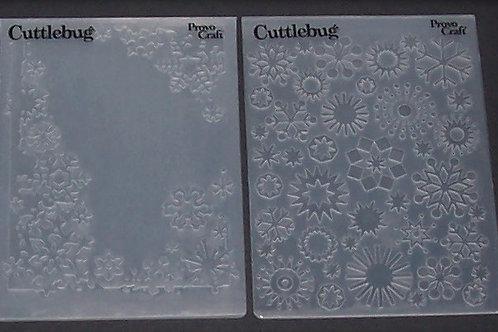 2 Cuttlebug Embossing Folders Christmas Holiday Snowflakes
