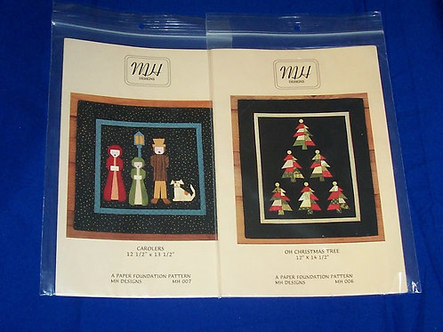 MH Designs Oh Christmas Tree + Carolers Quilt Pattern Paper Foundation