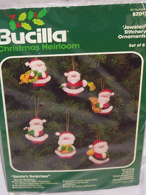 Bucilla Santa's Surprises Jeweled Stitchery Ornaments 82013 Christmas Set of 6