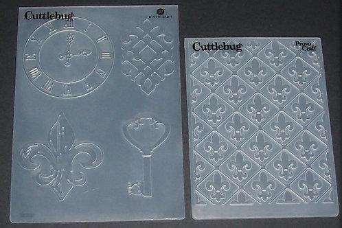 2 Cuttlebug Embossing Folders Fleur-de-Lis Clock Key Scrapbooking