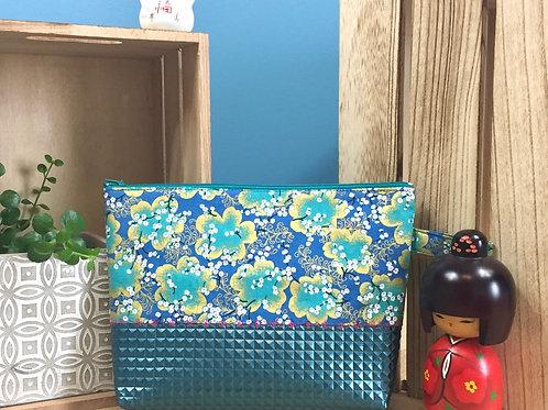 Pochette bi-matière Ume bayashi - bleu