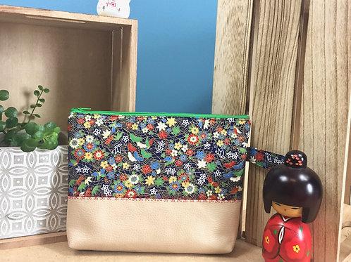 Pochette bi-matière Fleurs et papillon
