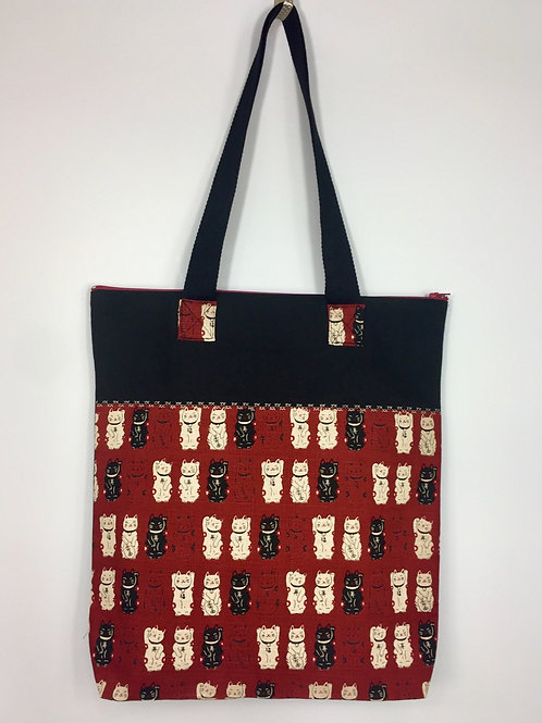 Tote bag chic Maneki Neko - bordeaux