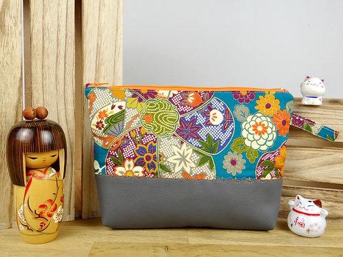 Pochette bi-matière Sakura et papillons