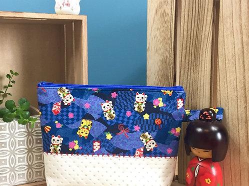 Pochette bi-matière Maneki neko - bleu