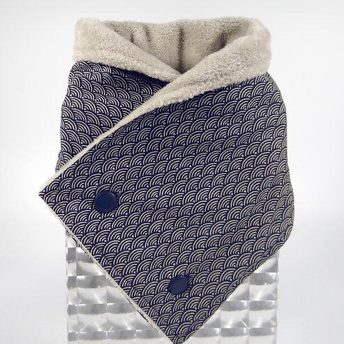 Echarpe croisée Seigaiha - bleu