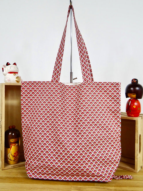 Sac shopping pliable Eventails - bordeaux