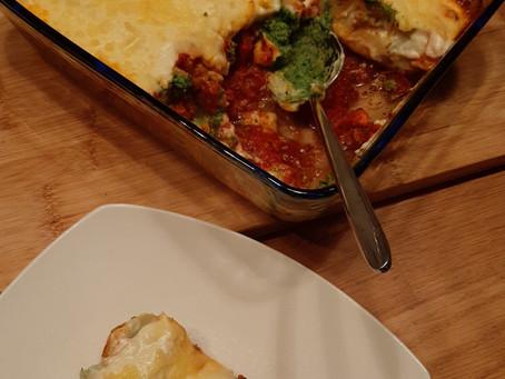 Cannelloni gevuld met spinazie en pompoen.