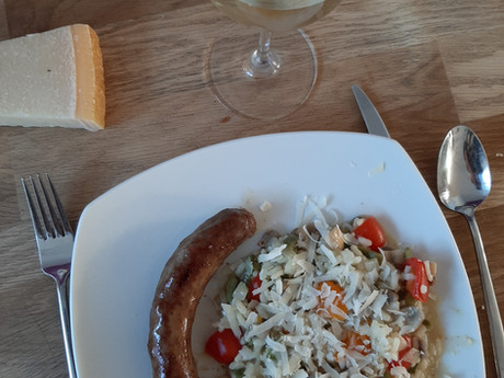 Restjes snijbonen verwerken in een nazomers gerecht: risotto met snijbonen en champignons.