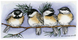 Rubber stamp chickedees