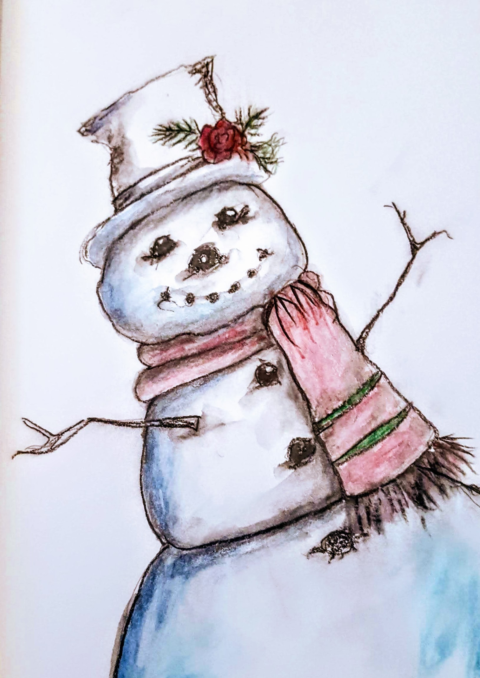Snowman from my art journal