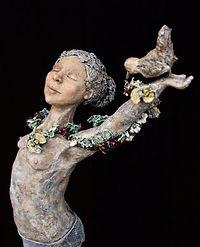 'Girl with Bird' by Dawn Conn