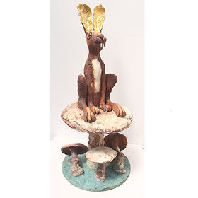 Crazy Hare Sitting On A Toadstool