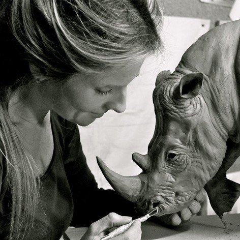 Working on clay for White Rhino