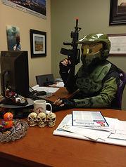 Master Chief at Desk