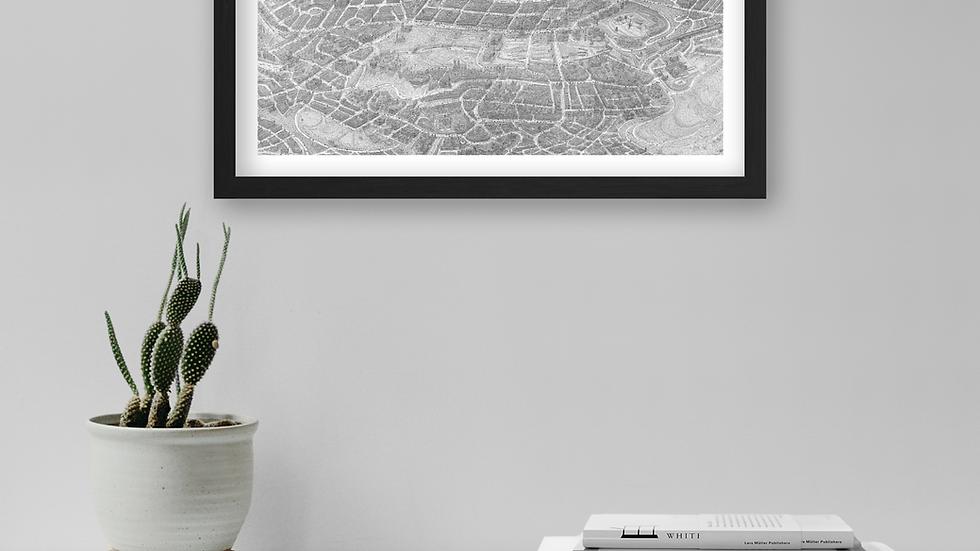 Mini-poster - EDINBURGH city. Size: 55x27.5cm