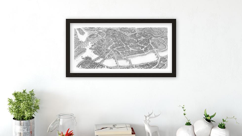 Mini-poster - INVERNESS city. Size: 55 x 27.1cm