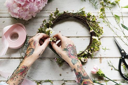 Florist Making Fresh Flowers Crown Arran