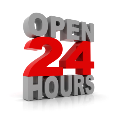 Open 24 Hours 400 x 400