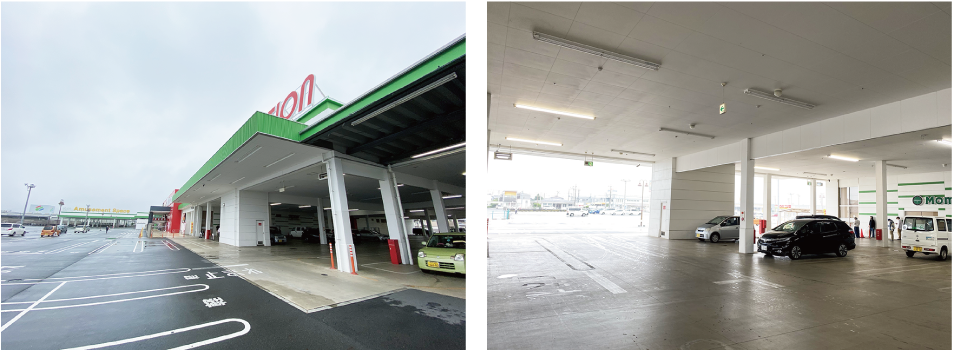 (左)お店の外観 (右)広々した駐車場