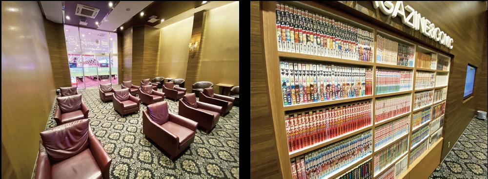 (左)ホテルのロビーの様な休憩スペース (右)様々な漫画が並んでいる