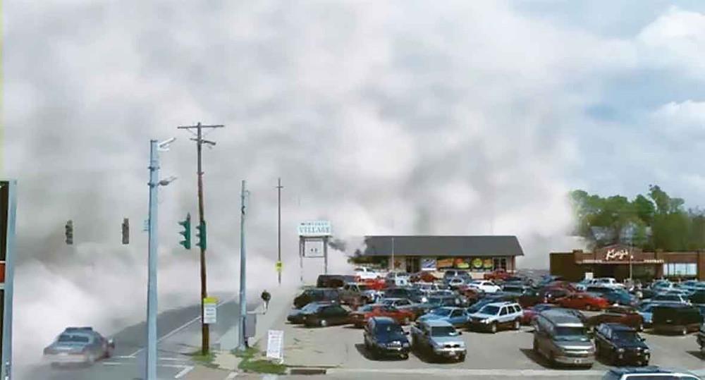 ▲霧で覆われていく町
