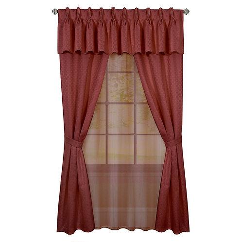 Claire 6 Pc Window Curtain Set - Marsala