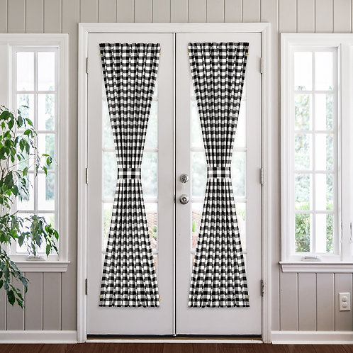 "Buffalo Check French Door Panels - 25"" x 72"""