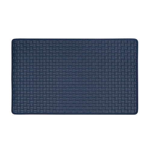 Embossed Leather-like Anti-Fatigue Mat - Navy