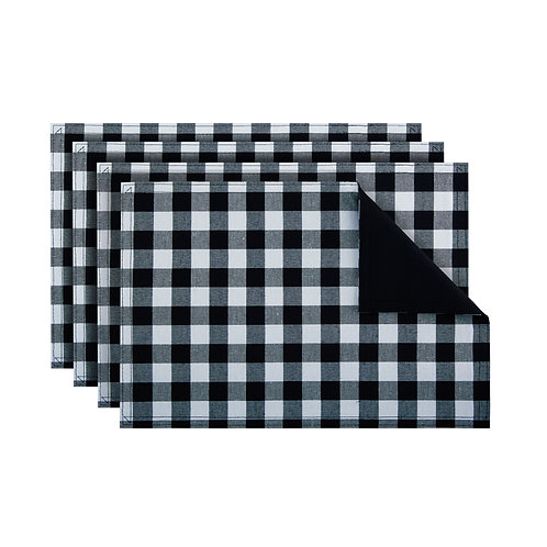 Buffalo Check Reversible Placemat, Set of Four - Black