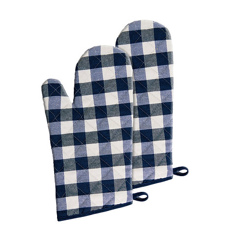 Buffalo Check Oven Mitt, Set of Two - Navy