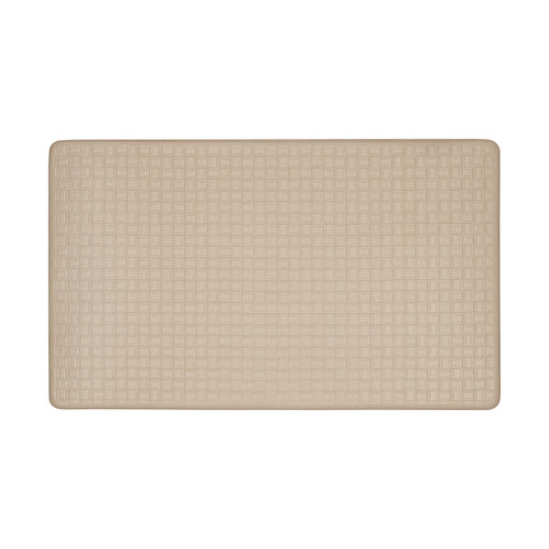 Embossed Leather-like Anti-Fatigue Mat - Tan