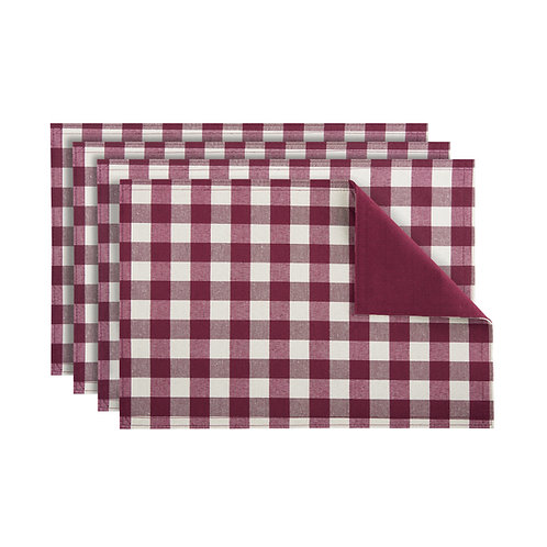 Buffalo Check Reversible Placemat, Set of Four - Burgundy