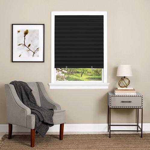 Cordless 1-2-3 Vinyl Room Darkening Pleated Window Shade - Black