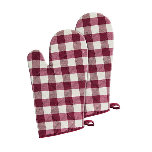 Buffalo Check Oven Mitt, Set of Two - Burgundy