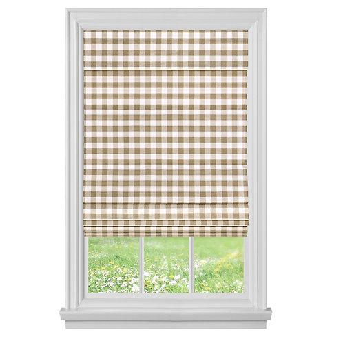 Cordless Buffalo Check Roman Window Shade - Taupe