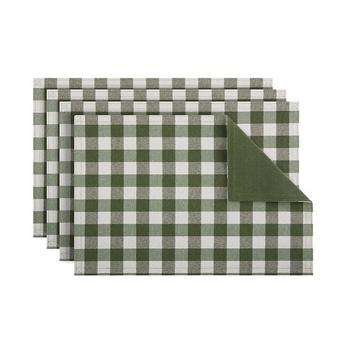Buffalo Check Reversible Placemat, Set of Four - Sage