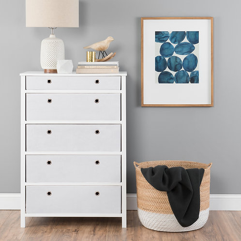 EZ Home Solutions ™ Foldable Furniture 5 Drawer Tall Dresser 45x31x19 - White