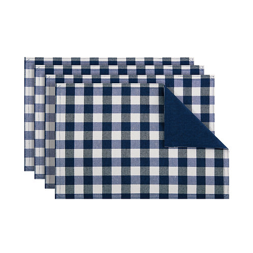 Buffalo Check Reversible Placemat, Set of Four - Navy