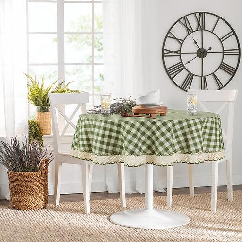 "Buffalo Check Table Cloth 70"" Round - Sage"