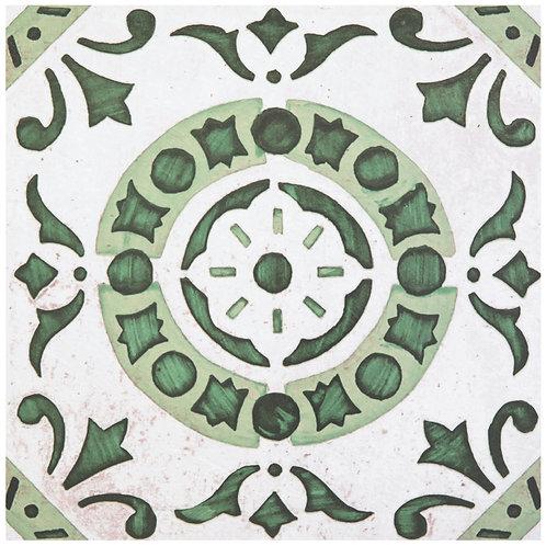 Retro 12x12 Self Adhesive Vinyl Floor Tile - 20 Tiles/20 sq. ft- Green Medallion