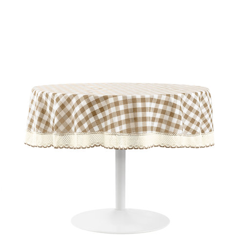 """Buffalo Check Table Cloth 70"""" Round - Taupe"""