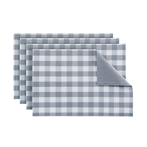 Buffalo Check Reversible Placemat, Set of Four - Grey