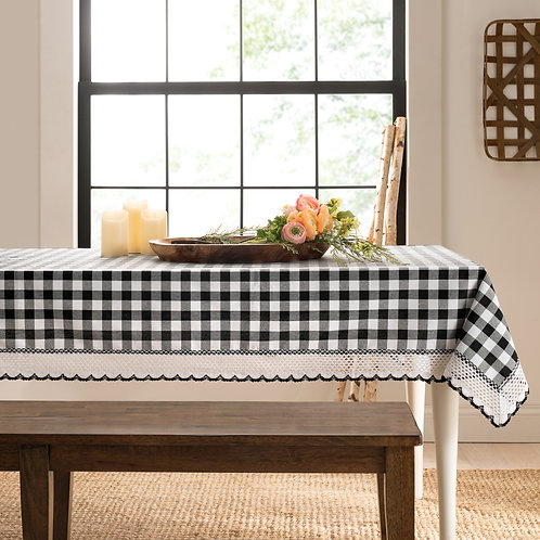 Buffalo Check Accessories Rectangle Tablecloth - Black and White