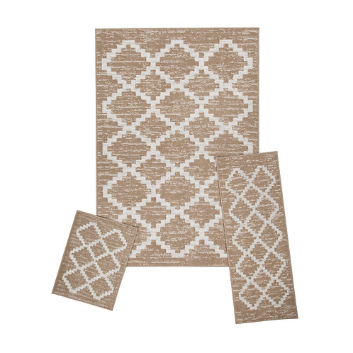 "Capri 3 Piece Rug Set, 5' x 7' Rug, 22"" x 59"" Runner, 22"" x 31"" Mat - Landon Tan"