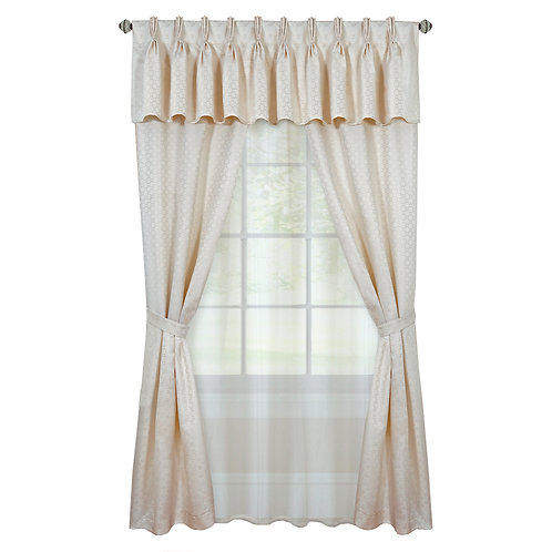 Claire 6 Pc Window Curtain Set - Ivory