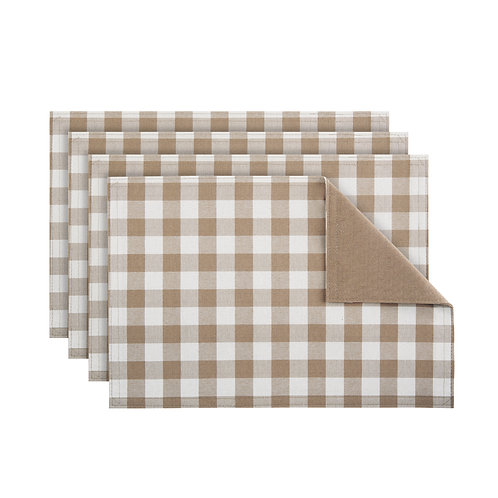 Buffalo Check Reversible Placemat, Set of Four - Taupe